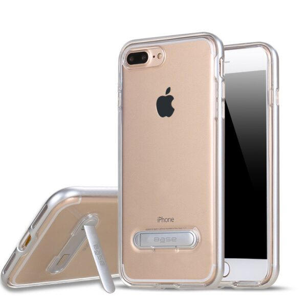 Base DuoHybrid - Reinforced  Protective Case w/ Kickstand for iPhone 7/8 Plus - Clear/Silver