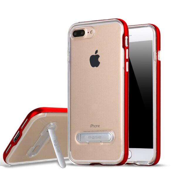 Base DuoHybrid - Reinforced  Protective Case w/ Kickstand for iPhone 7/8 Plus - Clear/Red