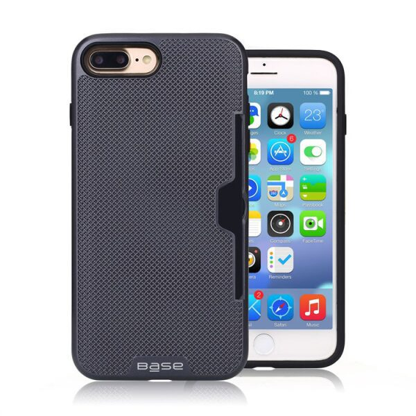 Base DuraFit Stowaway - Dual Layer Protective Credit Card Case for iPhone 7/8 Plus - Navy Blue