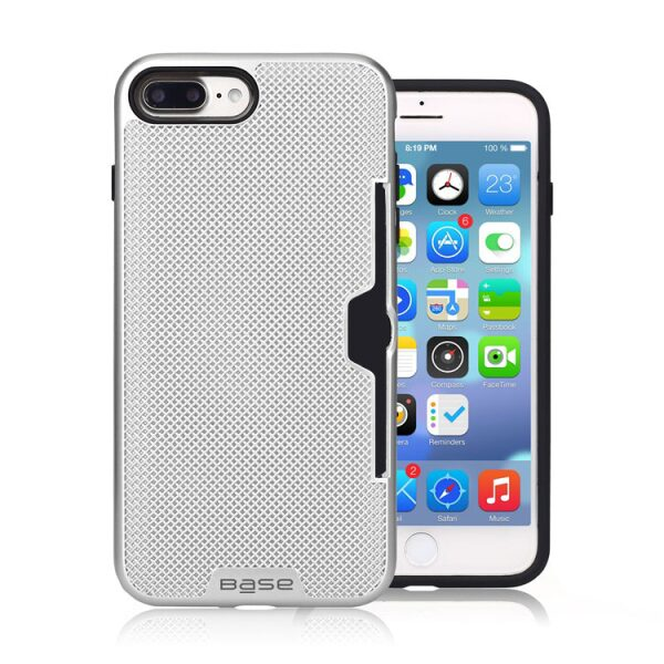 Base DuraFit Stowaway - Dual Layer Protective Credit Card Case for iPhone 7/8 Plus - Silver