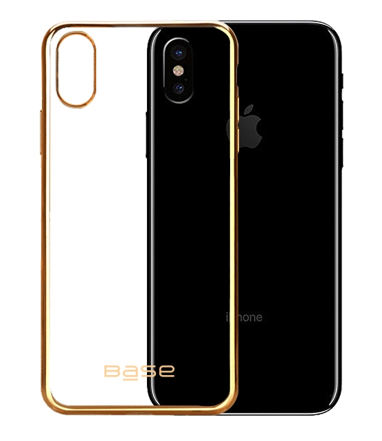Base Aero Glaze - Electroplate Clear Slim Protective Case for iPhone X - Gold