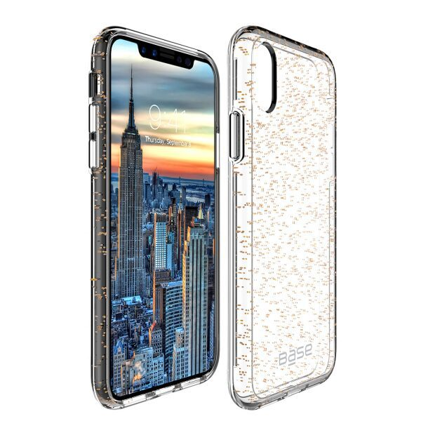 Base Crystal Shield - Reinforced Bumper Protective Case for iPhone X - Gold Glitter