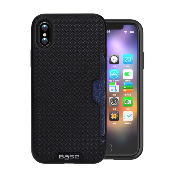 Base DuraFit Stowaway - Dual Layer Protective Credit Card Case for iPhone X - Black