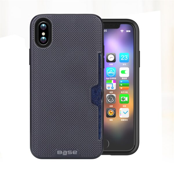 Base DuraFit Stowaway - Dual Layer Protective Credit Card Case for iPhone X - Navy Blue