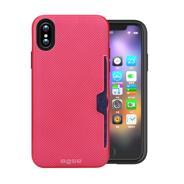 Base DuraFit Stowaway - Dual Layer Protective Credit Card Case for iPhone X - Hot Pink