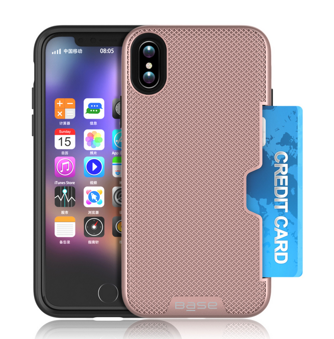 Base DuraFit Stowaway - Dual Layer Protective Credit Card Case for iPhone X - Rose Gold