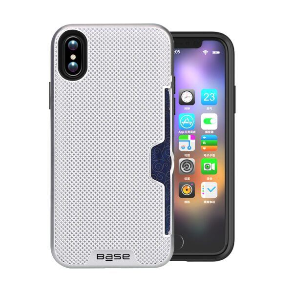 Base DuraFit Stowaway - Dual Layer Protective Credit Card Case for iPhone X - Silver