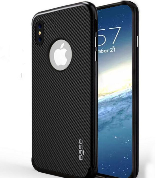 Base DuraSlim Fiber - Protective Case with Reinforced Bumper for iPhone X - Black