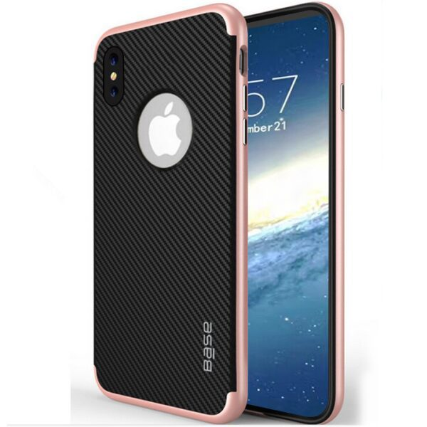 Base DuraSlim Fiber - Protective Case with Reinforced Bumper for iPhone X - Rose Gold