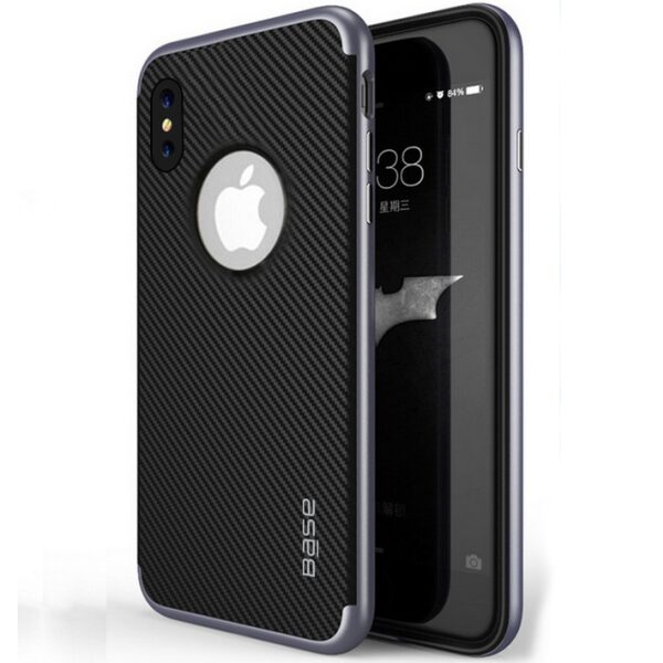 Base DuraSlim Fiber - Protective Case with Reinforced Bumper for iPhone X - Space Grey