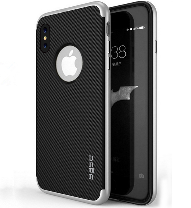 Base DuraSlim Fiber - Protective Case with Reinforced Bumper for iPhone X - Silver