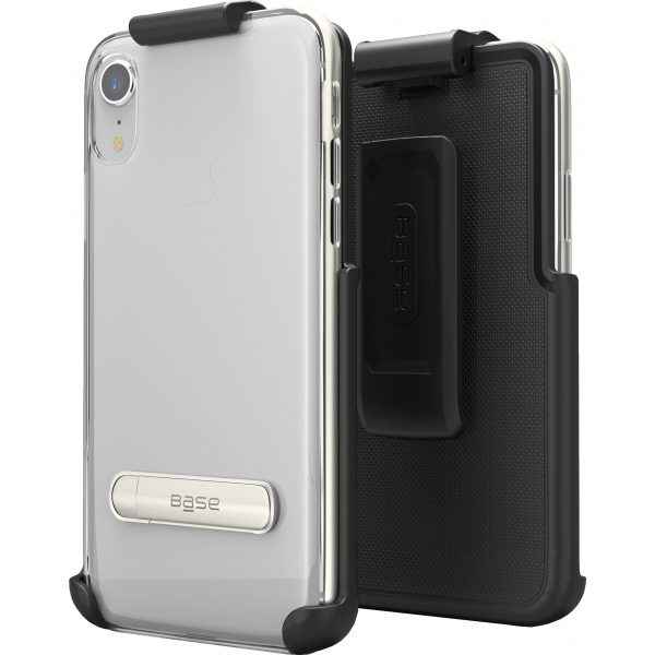 Base DuoHybrid - Reinforced Protective Case w/ Kickstand Holster Combo for iPhone XR  - Silver