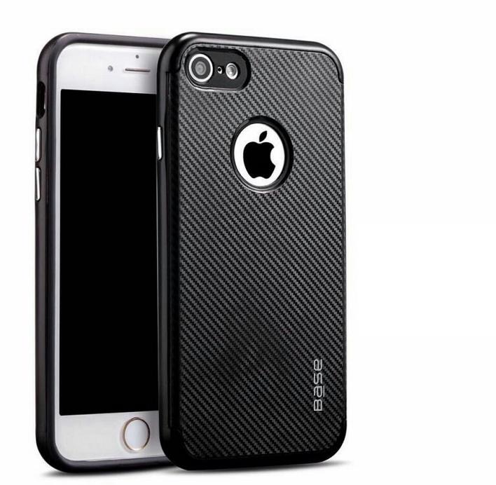 Base DuraSlim Fiber - Protective Case with Reinforced Bumper for iPhone - SE - 7/8 - Black