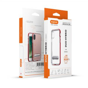 Base DuoHybrid - Reinforced  Protective Case w/ Kickstand for iPhone X  - Clear/Red