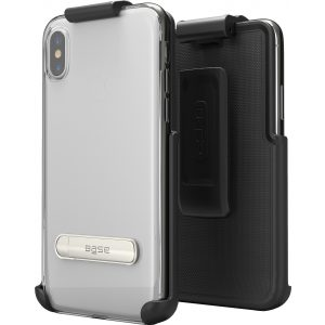Base DuoHybrid - Reinforced Protective Case w/ Kickstand Holster Combo for iPhone X Max - Black