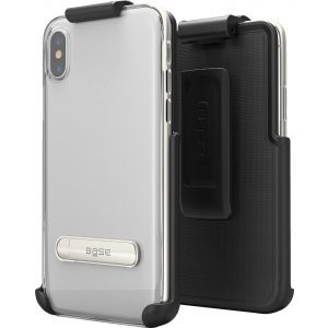 Base DuoHybrid - Reinforced Protective Case w/ Kickstand Holster Combo for iPhone X Max - Silver