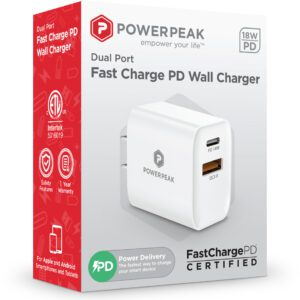 PowerPeak PD Wall Dual Port Charger 18W - White