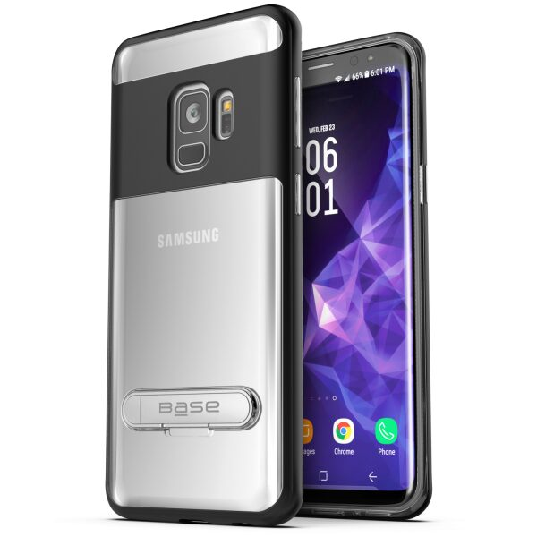 Base DuoHybrid - Reinforced  Protective Case w/ Kickstand for Galaxy S9 - Clear/Black