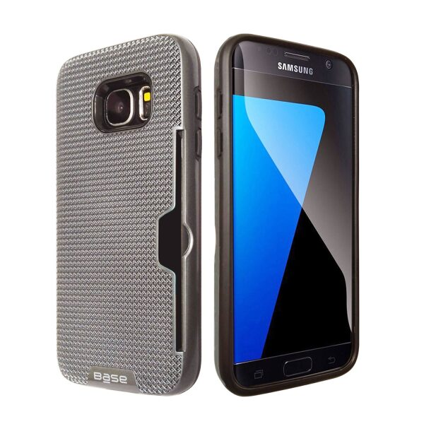 Base DuraFit Stowaway - Dual Layer Protective Credit Card Case for Samsung Galaxy S7 - Silver