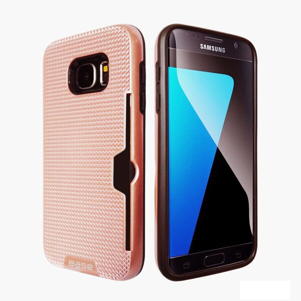Base DuraFit Stowaway - Dual Layer Protective Credit Card Case for Samsung Galaxy S7 - Rose Gold