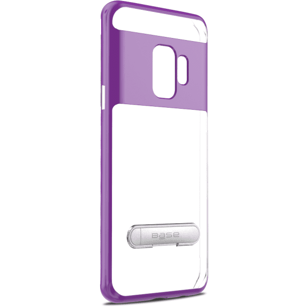 Base DuoHybrid - Reinforced  Protective Case w/ Kickstand for Galaxy S9 - Clear/Purple