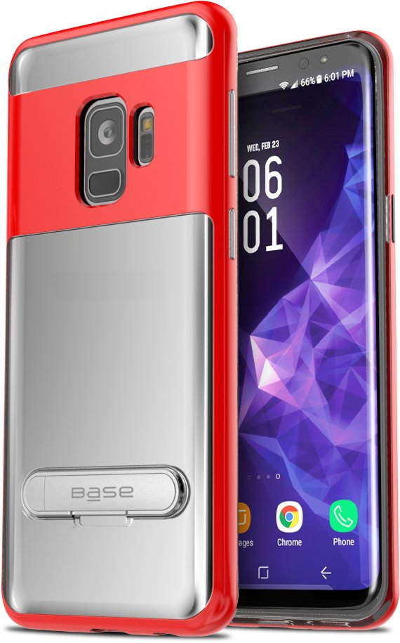 Base DuoHybrid - Reinforced  Protective Case w/ Kickstand for Galaxy S9 - Clear/Red