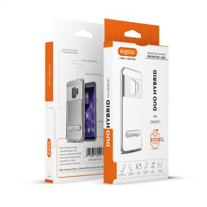 Base DuoHybrid - Reinforced  Protective Case w/ Kickstand for Galaxy S9 - Clear/Silver