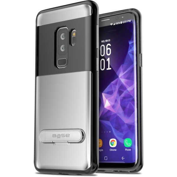 Base DuoHybrid - Reinforced  Protective Case w/ Kickstand for Galaxy S9 Plus - Clear/Black