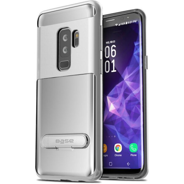 Base DuoHybrid - Reinforced  Protective Case w/ Kickstand for Galaxy S9 Plus - Clear/Silver