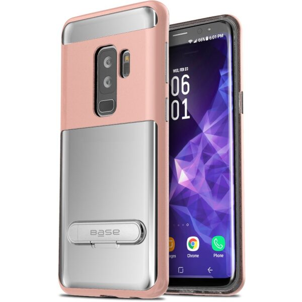 Base DuoHybrid - Reinforced  Protective Case w/ Kickstand for Galaxy S9 Plus - Clear/Rose Gold