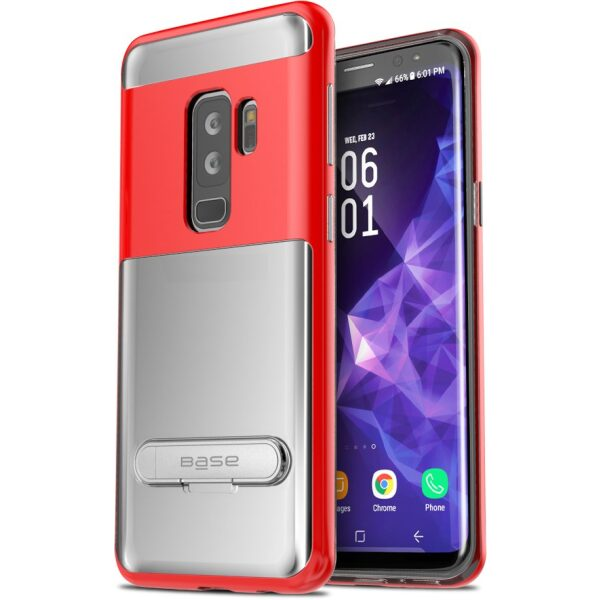 Base DuoHybrid - Reinforced  Protective Case w/ Kickstand for Galaxy S9 Plus - Clear/Red