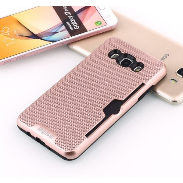 Base DuraFit Stowaway - Dual Layer Protective Credit Card Case for Samsung Galaxy J7 - Rose Gold