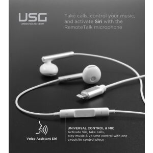 Urban Sound Gear - iPhone Earbuds with Lightning Connector MFi Certified by Apple Earphones Wired in-Ear Headphones with Volume Control & Mic for iPhone X, XS iPhone 11 and 11 Pro Max iPhone 12 (White)