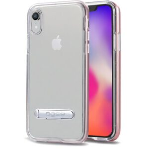 Base DuoHybrid - Reinforced Protective Case w/ Kickstand for iPhone XR - Clear/Rose
