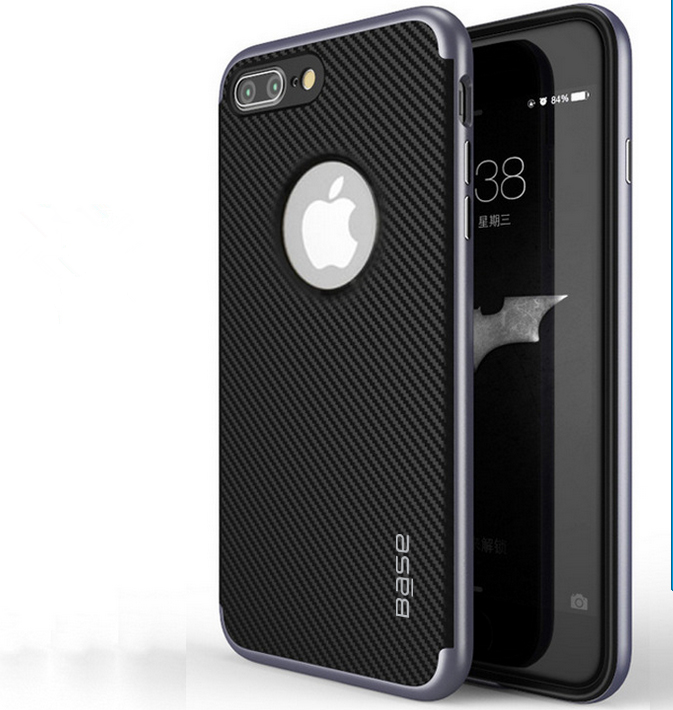 Base DuraSlim Fiber - Protective Case with Reinforced Bumper for iPhone 7/8 Plus - Space Grey