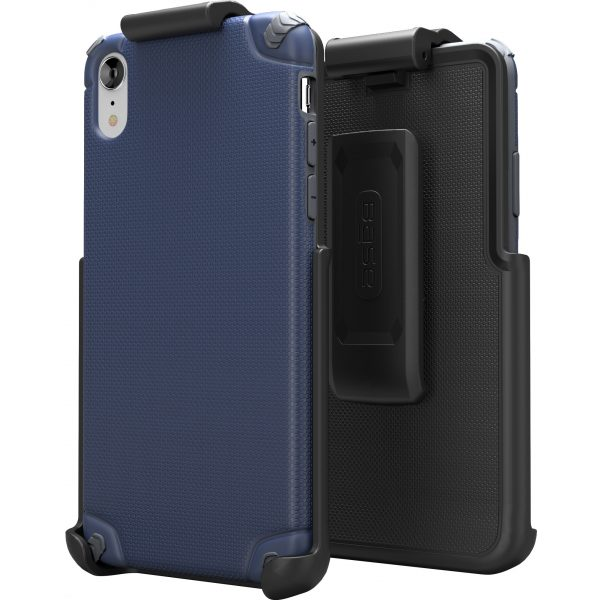 BASE Rugged Armor PRO TECH Protective Case With Holster For iPhone XR - Blue
