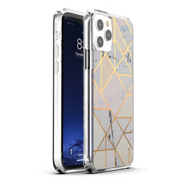 Base iPhone 12 / iPhone 12 Pro (6.1) - Marble Luxury Shockproof Cover Case - White
