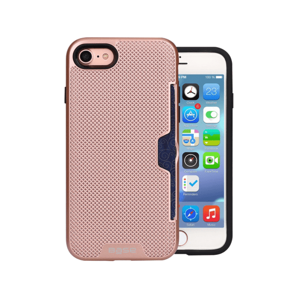 Base DuraFit Stowaway - Dual Layer Protective Credit Card Case for iPhone  - SE - 7/8 - Rose Gold