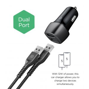 PowerPeak Rapid Vehicle Dual Port Charger with 4ft. Braided Lightning Charge & Sync Cable - Black (12W / 2.4 Amps)