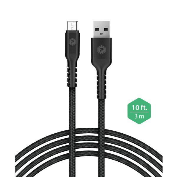 PowerPeak 10ft. Braided Nylon Metallic Micro USB Charge & Sync Cable - Black