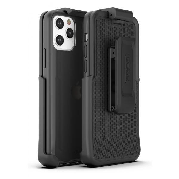 Base iPhone 12 / iPhone 12 Pro (6.1) - DuoHybrid Reinforced  Protective Case with Holster - Black