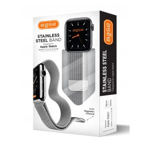 Base Apple Watch Stainless Steel Bands - Large (42/44mm) - Silver