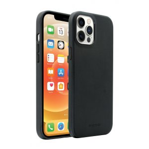 Base MagSafe Compatible Vegan Leather Case For iPhone 12 Pro Max (6.7) - Black