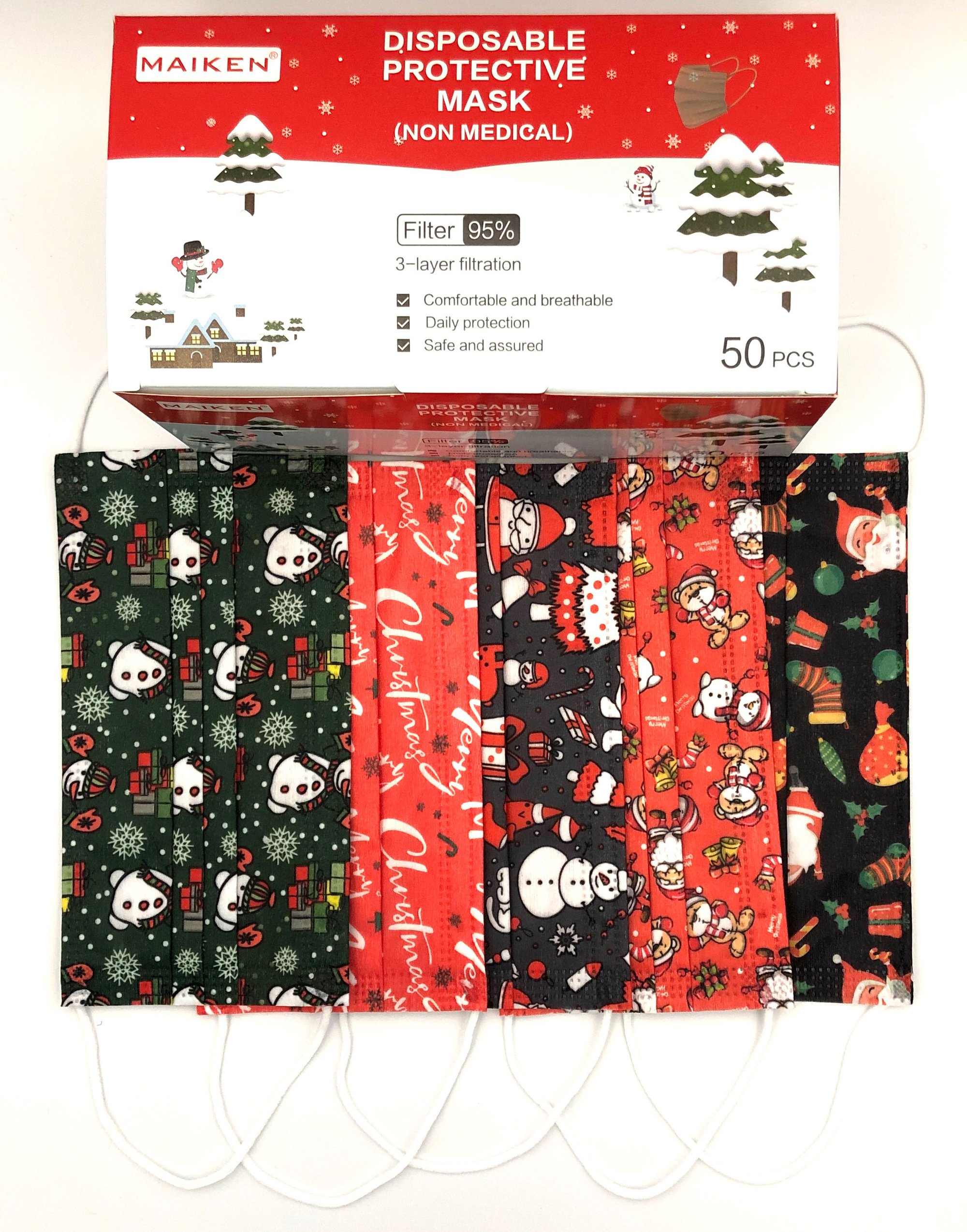 Disposable Holiday Face Masks - Case of 50