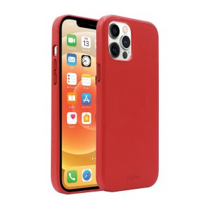 Base MagSafe Compatible Vegan Leather Case For iPhone 12 Pro Max (6.7) - RED