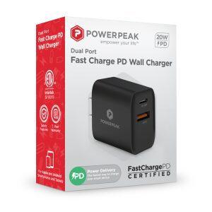 PowerPeak PD Wall Dual Port Charger 20W - Black