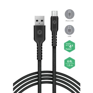 PowerPeak Quick Charge 3.0 Micro Wall Charger with 6ft. Braided Cable - Black