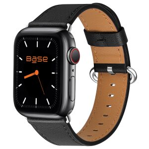 Base Apple Watch Full-Grain Leather Bands  - Large (42/44mm) - Black