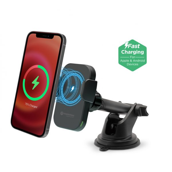 15W Wireless MagCharge Car Dash/Vent Mount Holder with Magnetic Auto-Alignment - Compatible with All Wireless Charging Smartphones