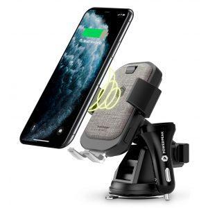 PowerPeak Wireless Fast Charging Auto Clamping Car Windshield Dashboard & Air Vent Phone Holder - Beige